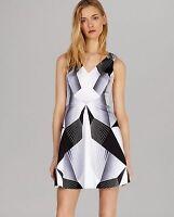 New KAREN MILLEN Deco Graphic Print Dress Size UK 10 Grey White Black US 6 EU 38