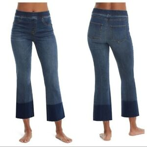 SPANX XS Cropped Flare Jeans Blue Denim Leggings Stretch Pull On Color Block