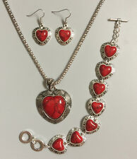 Tibet silver Red heart Turquoise Inlay Pandent Necklace Earrings bracelet Set