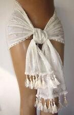 Ivory Assuit medium width shawl hip head scarf wrap tassels belly dance US SHIP