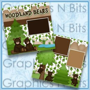 """WOODLAND BEARS 12""""x12"""" Printed Premade Scrapbook Pages"""