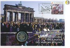 """Vatican 2014 """" 25ème anniversaire de la chute du mur de Berlin"""" Pièce et Timbre"""