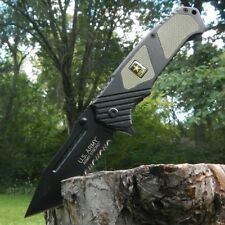 US ARMY Licensed Rescue Tactical Spring Assisted Knife TANTO Serrated Blade NEW
