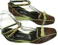 VANELi Womens Animal Print Ankle Strap Wedge Heels Size 7.5 N (Narrow) FREE SHIP