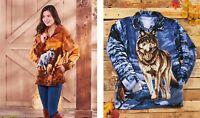 Women's Plush Wildlife Art Jacket Long Sleeve Soft Fleece Choose Horses Or Wolf