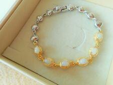Opal Armband mit Herzen aus 925 Sterlingsilber 585 Weißgold Gelbgold vergoldet