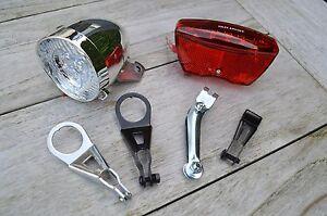 Nostalgie Scheinwerfer Fahrrad Licht LED Chrom Lampe. Retro Lampe Hollandrad.