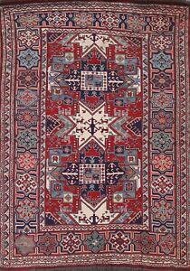 Tribal Geometric Super Kazak Oriental Area Rug Vegetable Dye Handmade Wool 5'x8'