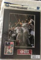 BOSTON RED SOX 2004 WORLD SERIES CHAMPIONS 11X14 MATTED PHOTO, DON RUSS CARD.