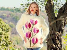 Unique ivory sweater with flowers handmade light mohair top fuzzy by SUPERTANYA