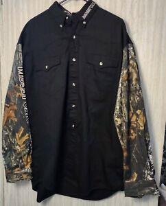 Mossy Oak Western by Roper Men's XL Camo Long Sleeve Hunting Shirt New.