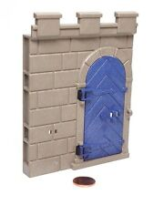 "Playmobil System X Castle Grey ""Stone"" Wall w/ Blue Arched ""Wood"" Door 3268"