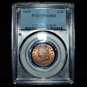 1835 CLASSIC HEAD HALF CENT ✪ NGC MS-63-RD ✪ 1/2C FULL RED L@@K NOW ◢TRUSTED◣