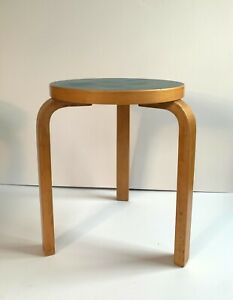 Vintage Aalto stool 60 made in Finland by Artek with blue linoleum top 1950's