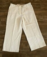 14 Tommy Bahama 100% silk pants womens wide leg casual resort wear off white