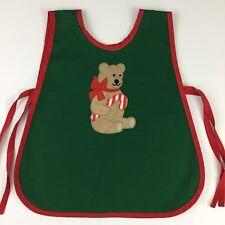 Vintage Kids Christmas Holiday Apron Vtg Childs Bib Apron Teddy Bear Candy Cane
