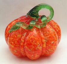 "NEW 6.75"" Wide Art Glass Pumpkin ORANGE YELLOW SHADES Spots Swirls Ribbed"