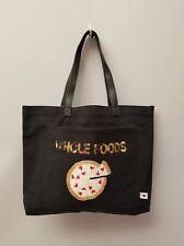"MACY'S BOW & DRAPEBLACK DENIM TOTE BAG ""WHOLE FOODS"" Sequins w/Pizza"