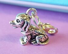 🐶 TINY DOG CHARM PUPPY CHARM for CHARM BRACELET  PURSE BACKPACK ZIPPER  SILVER