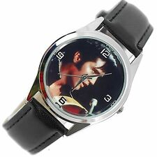 ELVIS PRESLEY WATCH Stainless Steel LEATHER MUSIC KING LEGEND ROUND CD WATCH E2