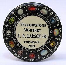 circa 1910 YELLOWSTONE WHISKEY Larson Co. FREMONT Nebraska pocket mirror *