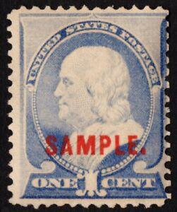US Sc# 212s TYPE K *MINT OG H* { 1c FRANKLIN } SAMPLE OVERPRINT FROM 1887 CV$ 75
