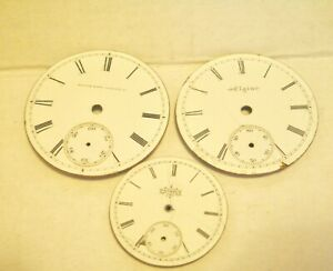 """[#855] Three Elgin National Watch Co dials & pouches  1-3/4"""" & 1-1/2"""""""