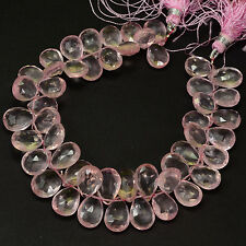 180.8CT Gem Rose Quartz Faceted Pear Briolette Beads 8 inch Strand