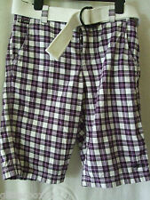 """NEW £45 SUPERDRY PURPLE CHECKED BEATNIK SHORTS WITH BELT, SMALL 30"""" WAIST"""
