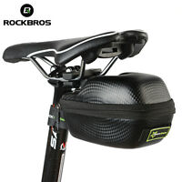 RockBros PU Leather Carbon Fiber Bicycle Bike Seat Saddle Bag Waterproof Black