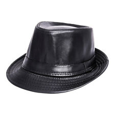 9e82452eaf5 Blue Banana Unisex Black Leather Style Alternative Fashion Trilby Hat