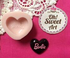 Barbie Heart  Logo  Silicone Mold Food Cake molds wax soap cupcake topper FDA