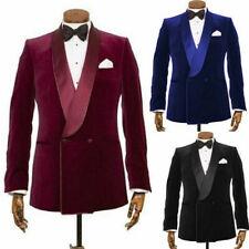 Men's Prom Dinner Blazer Velvet Double-breasted Groomsman Wedding Party Tuxedos