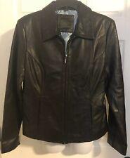Apt 9 Lambskin Black Leather Jacket Coat Sz Medium VGC