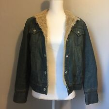 Gap Jean Jacket With Faux Fur Lining Ladies Denim Jacket Warm Size Medium