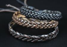 Lot 3pcs Cool Leather Hemp Braided Exquisite Bracelet Wristband Bangle Brown G22