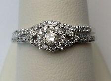 10k White Gold 1/3c Round Diamonds Halo Style Engagement Ring Bridal Wedding Set