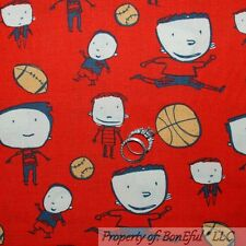 BonEful Fabric FQ Cotton Quilt Red Sport All Star Boy BasketBall Foot*Ball Base
