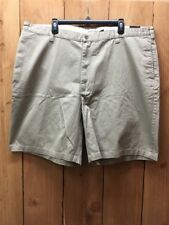 NWT New Sz 44 Mens Khaki Cotton Flat Front Shorts St Johns Bay