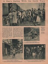 BICYCLE  CYCLE TRAIN ON A DAY'S OUTING - PHOTO COLLAGE 1936 NY Hartfort Railroad