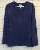 Chicos Design Womens Shirt Size 3 Purple Textured Chenille Long Sleeve