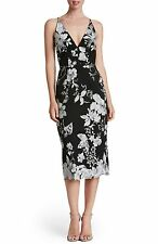 NEW Dress the Population Lucy Embroidered Midi Dress Black/Silver [SZ Small] F11