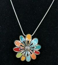 Brighton Posh Posey Multicolor Enamel Flower Pendant Necklace Retired Rare