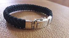 """BEST SELLER! Men Square Black Leather Bracelet w/ 925 Sterling Silver Clasp 8"""""""