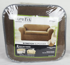 Sure Fit Stretch Metro Slipcover 2 Piece Box Cushion Loveseat – Brown