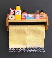Bathroom Shelf With Accessories & Yellow Towels, Doll House Miniatures