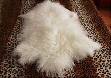 Real Mongolian Fur Throw Tibetan Lambskin Rug Hide Pelt Curl Hair Carpet 1.8X3.6