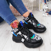 WOMENS LADIES ANIMAL PRINT CHUNKY TRAINERS LACE UP SNEAKERS CASUAL PARTY SHOES