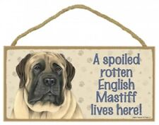 """A Spoiled Rotten English Mastiff lives here! Dog Sign 5""""x10"""" Usa Wood Plaque 497"""
