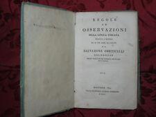 Libro Regole ed Osservazioni della Lingua Toscana Salvadore Corticelli 1814